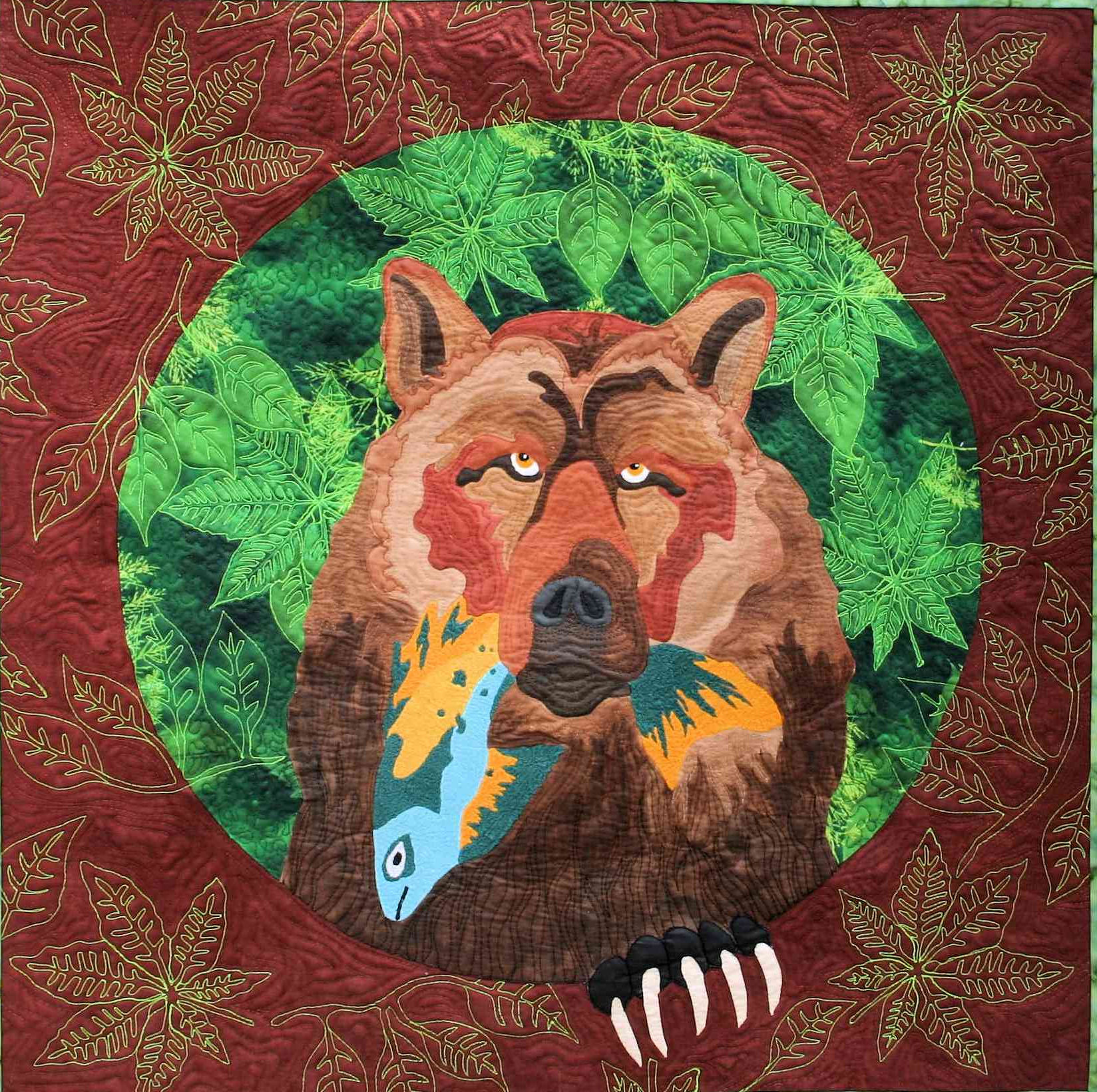 catch of the day is a fiber art work showing a smug bear holding a fish he just caught for dinner.  This was a juried finalist in the Houston International Quilt  Festival in 2014
