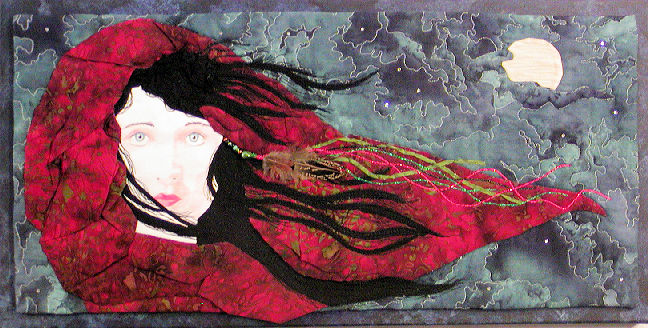 catherine on the moors is inspired by the novel Wuthering Heights showing Catherine with her  hair being blown across her face by the wind on the moors