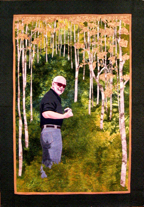 Searching For Aspen is a fiber art work that is a remembrance of a trip to Colorado in the fall timed to catch the Aspen just as they were turning yellow and gave a brilliant contrast to the  evergreen pine trees